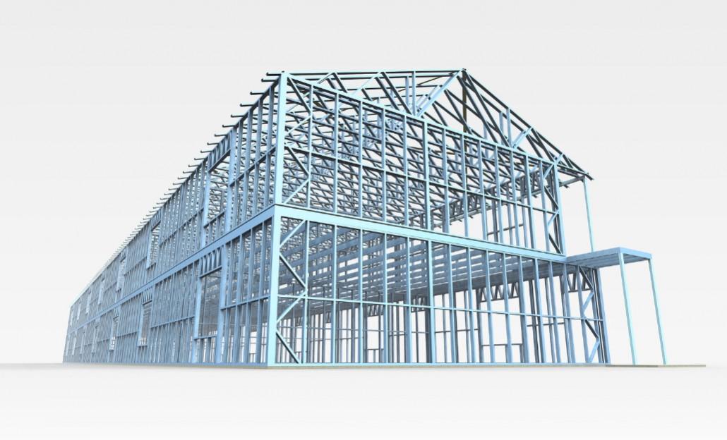 Obrázok montovanej výrobnej haly s oceľovou konštrukciou Steelong